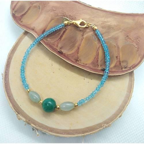 Blautopas Armband. Mit Smaragd und Beryll grün. Silber 925.Echte Natürliche Edelstein. Handarbeit Fairer Handel