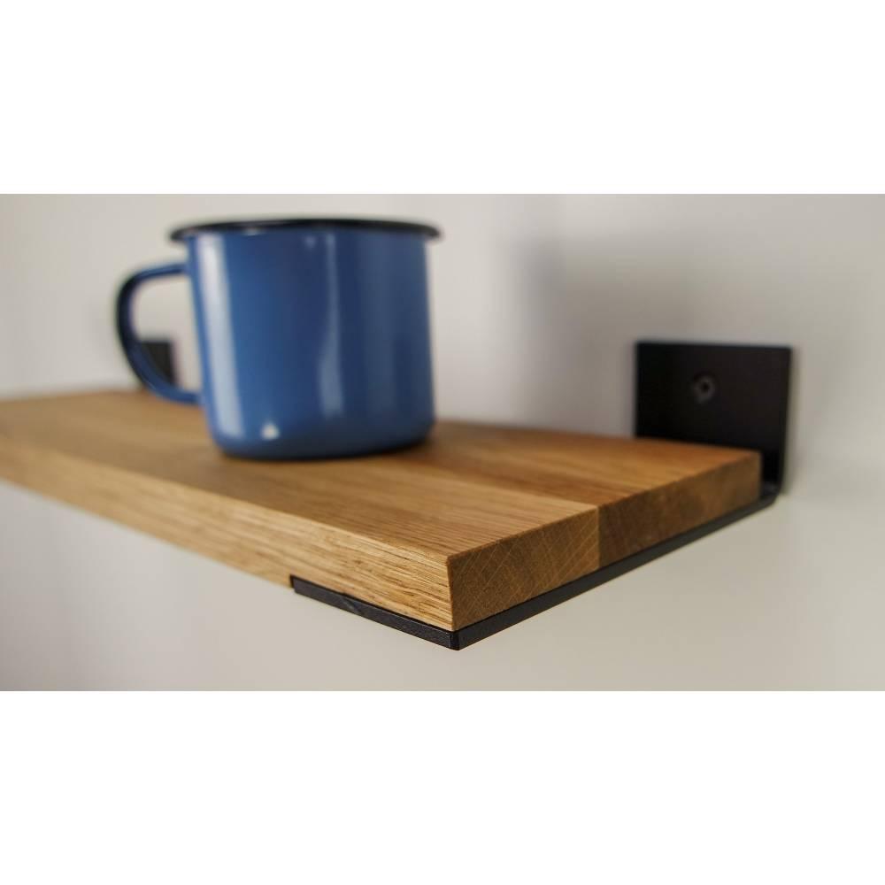 Regal aus Eiche und Stahl - 50 cm - Holz - industrial - rustikal- Wandregal - handgefertigt - individualisierbar Bild 1
