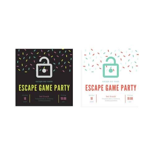 escape my room Einladung zur Escape Game Party, quadratisch
