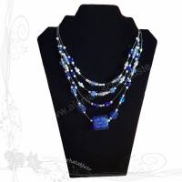Handgemachte Halskette *Blumenthal 001* vierreihig, blau mit Glasperlen und Strass, Unikat, keine Versandkosten Bild 1