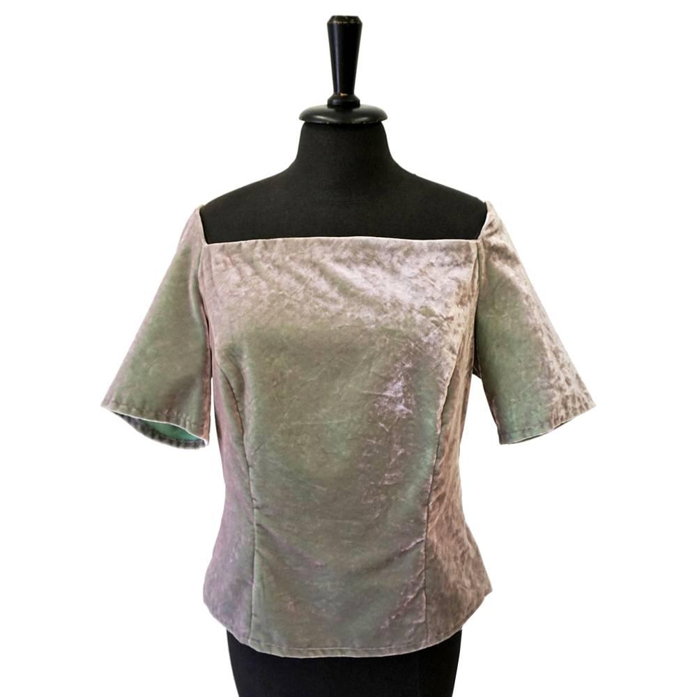 SAMT-OBERTEIL changierend silber-grün, Baumwollsamt Bild 1
