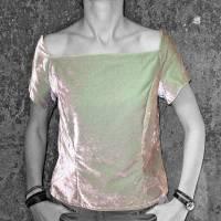 SAMT-OBERTEIL changierend silber-grün, Baumwollsamt Bild 3