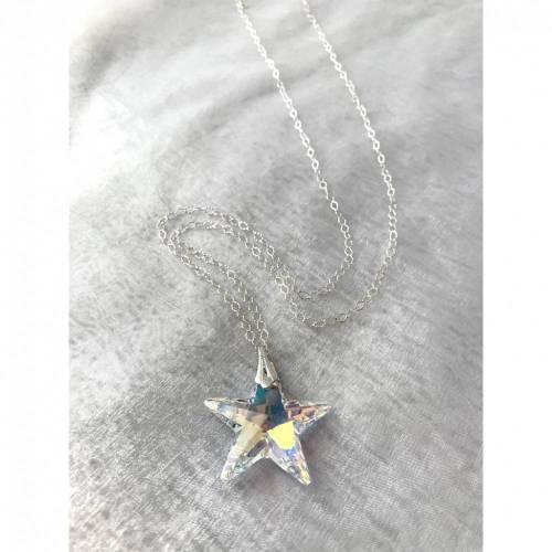 Kette - Swarovski Sterne Echtsilber 90 cm individuell einstellbar