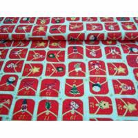 Weihnachtsstoff Baumwolldruck, Adventskalender mit verschiedenen Feldern ca. 6x5cm groß, so wie Zahlen, in cremegrundig mit roten Motiven und goldenen Zahlen, Ökotex 100 und waschbar bis 40°. Bild 1