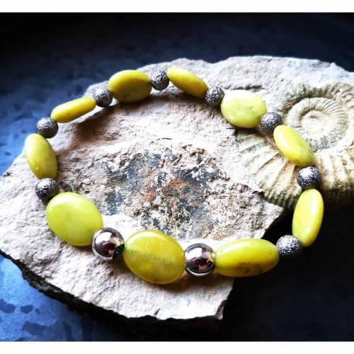 Armband mit Jade und Edelstahl, elastisch, unisex