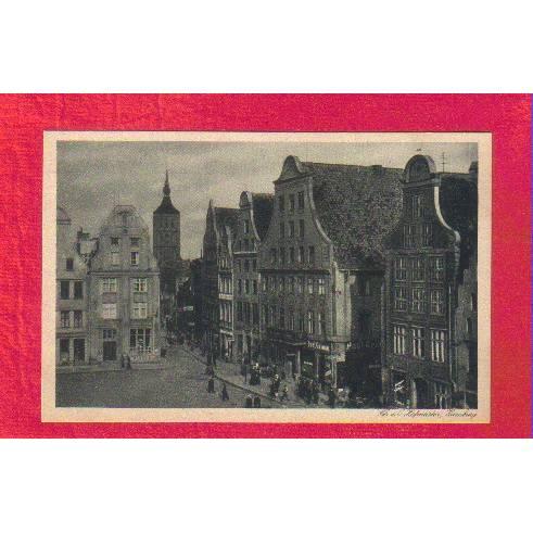 Ansichtskarte - Rostock Markt mit Nikolaikirche - ca. 1925 - Künstlerische Städte-Postkarte Bild 1