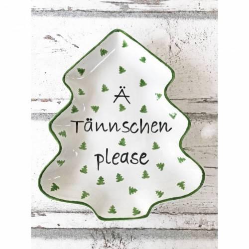 Teller, Form Tannenbaum, Plätzchenteller, Weihnachten, Keramik, handbemalt