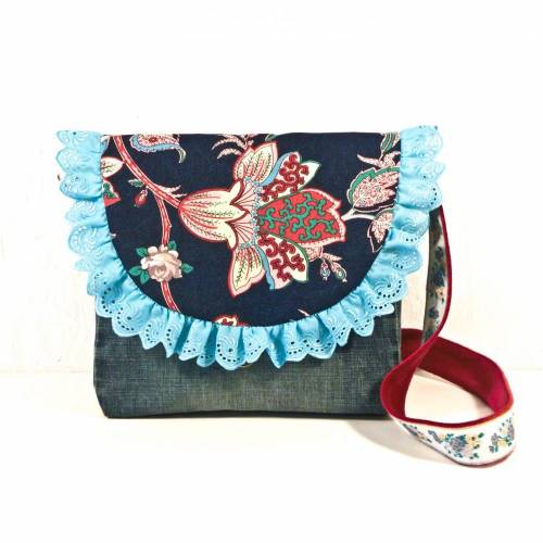 Upcyclingtasche für Mädchen, blau geblümt, Unikat, Kindertasche, Stofftasche