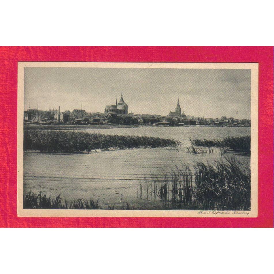 Ansichtskarte - Rostock Warnow mit Hafen - ca. 1925 - Künstlerische Städte-Postkarte Bild 1