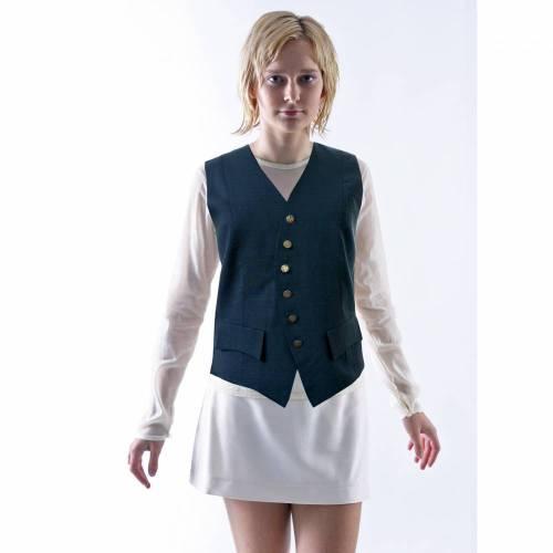 UNIFORM WESTE aus Wolle, dunkelblau, silberne Knöpfe, mit Taschen