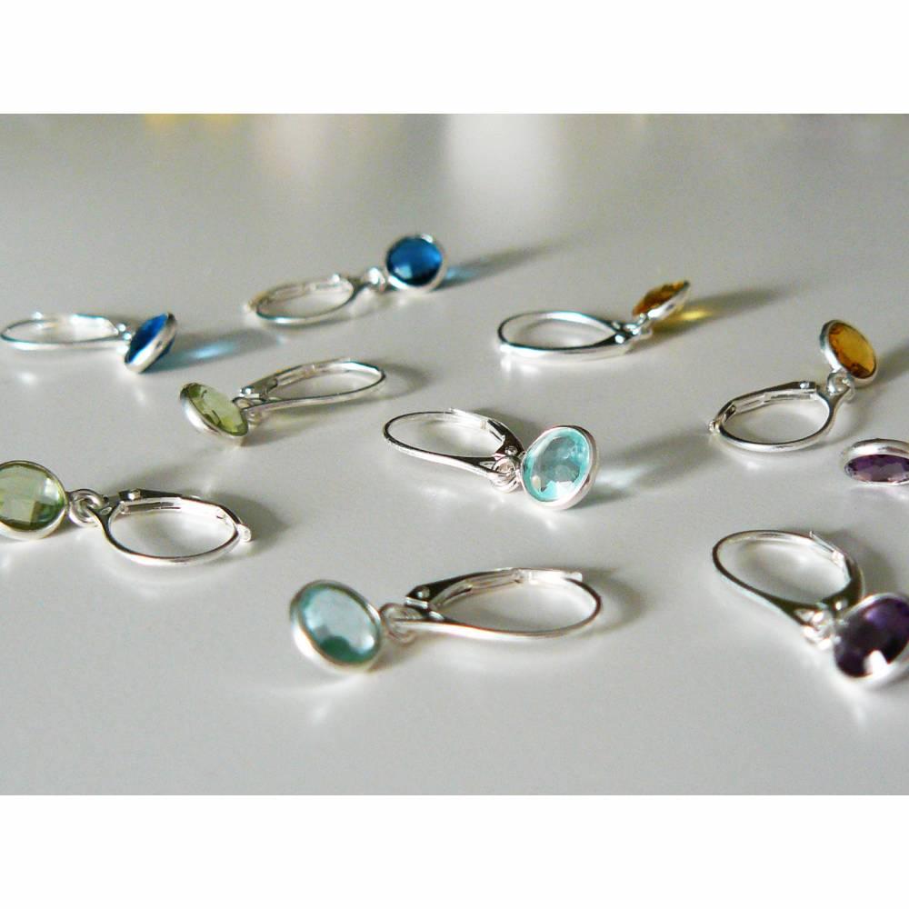 925 Silber Ohrringe mit Anhänger: Amethyst - grüner Quarz - hydrothermaler Blautopas, Citrin oder London Blue Topas Bild 1