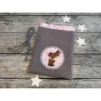 Nikolausbeutel, Geschenkverpackung aus Waffelpique in Grau, innen Rosa mit Sternchen, bestickt mit einem kleinen Elch, personalisierbar, Name möglich Bild 1