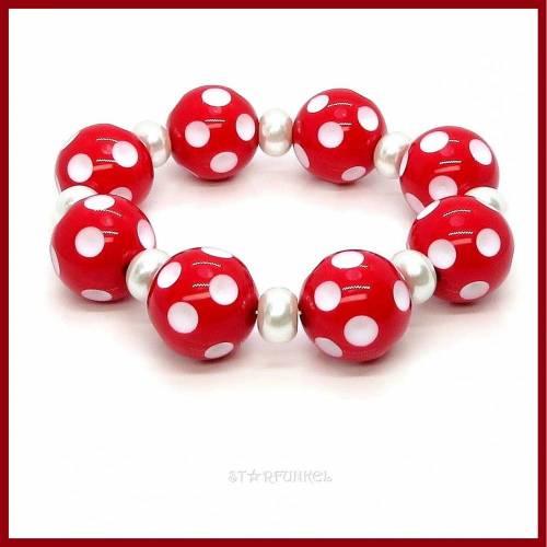 "Armband ""Polka Dots"" rot/weiß Punkte pearl 20mm Stretch, retro,50er"