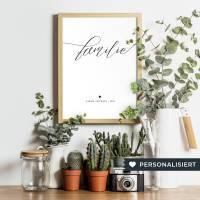 """Personalisiertes Poster """"Familie"""" • DIN A4 • Geschenk zur Geburt, Baby, Hochzeit Bild 1"""