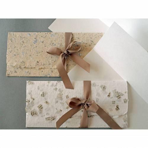2 handgeschöpfte, gefütterte Briefumschläge mit Klappkarten und Bändchen, ca. 10 cm x 22 cm, Verpackung für Geldgeschenke, Tickets, Gutscheine
