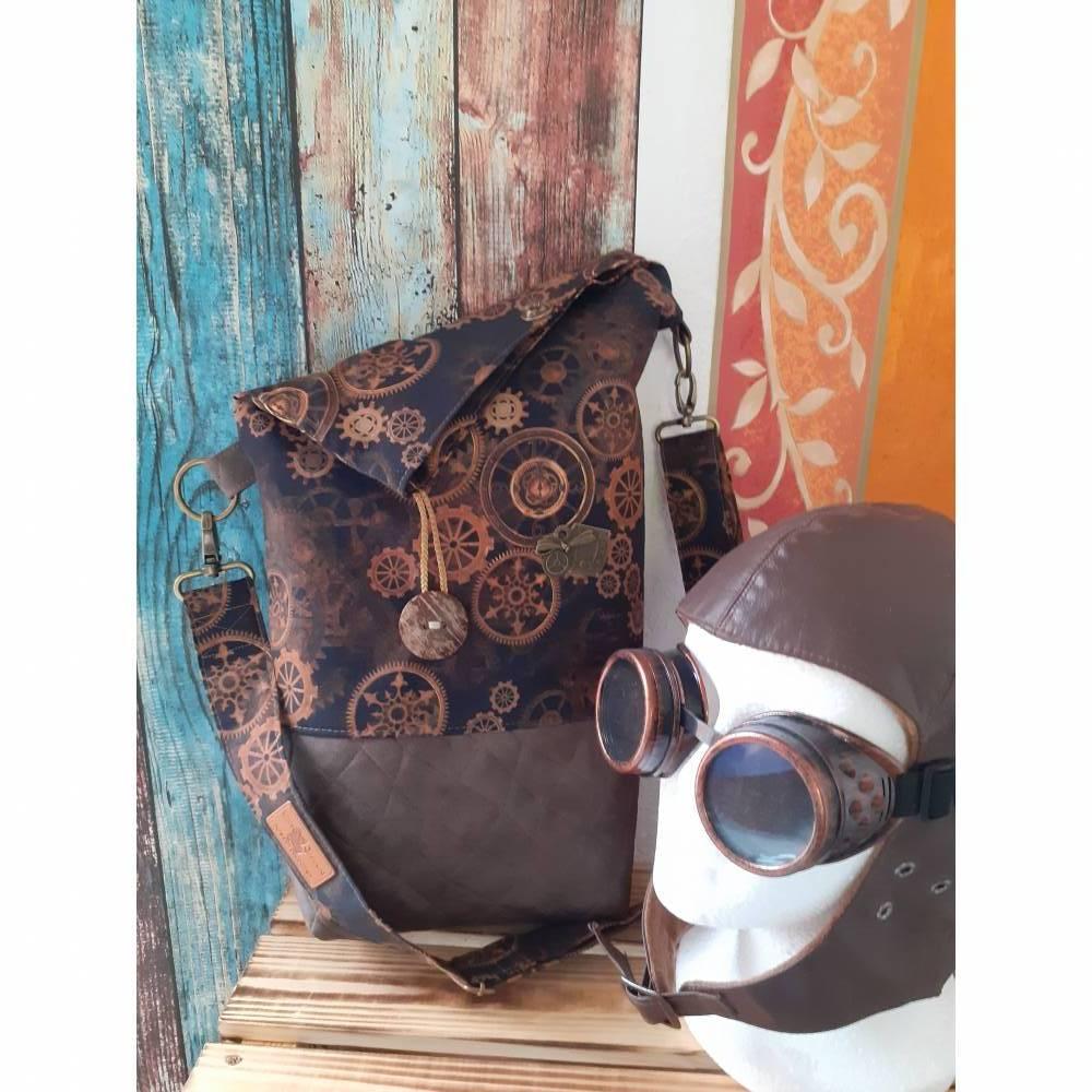 Umhängetasche/Foldover, Einzelstück, Steampunk Look, Kunstleder, hochwertige Baumwolle Bild 1