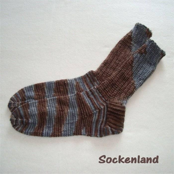 handgestrickte Socken, Strümpfe Gr. 44/45, in braun und grau, Herrensocken, Einzelpaar Bild 1