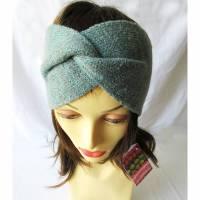 Gestricktes Stirnband mit Verknotung, grau blau, Winterstirnband, Damen-Stirnband, Ohrenwärmer, Turban Stirnband, Wolle,  Bild 1