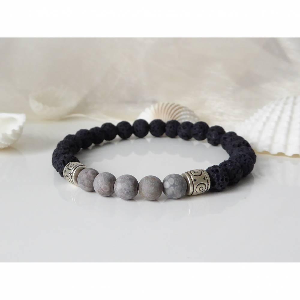 Herrenarmband Lava und Naturstein, grau marmoriert, schwarz, Männer, Geschenk Bild 1