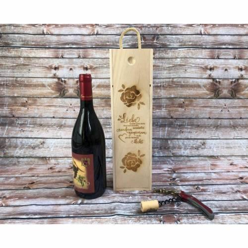 Weinkiste Weinbox Hochzeit Geschenkbox Holzkiste Box Geschenkidee Holz Präsentbox Flaschen Flaschenhalter Laser Wein Hochzeitsgeschenk
