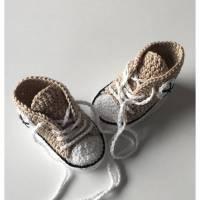 gehäkelte Babyschuhe in beige (23) Bild 1