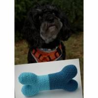 Hundespielzeug Knochen  100% Baumwolle  hellblau/dunkelblau mit Quitscher  Bild 1