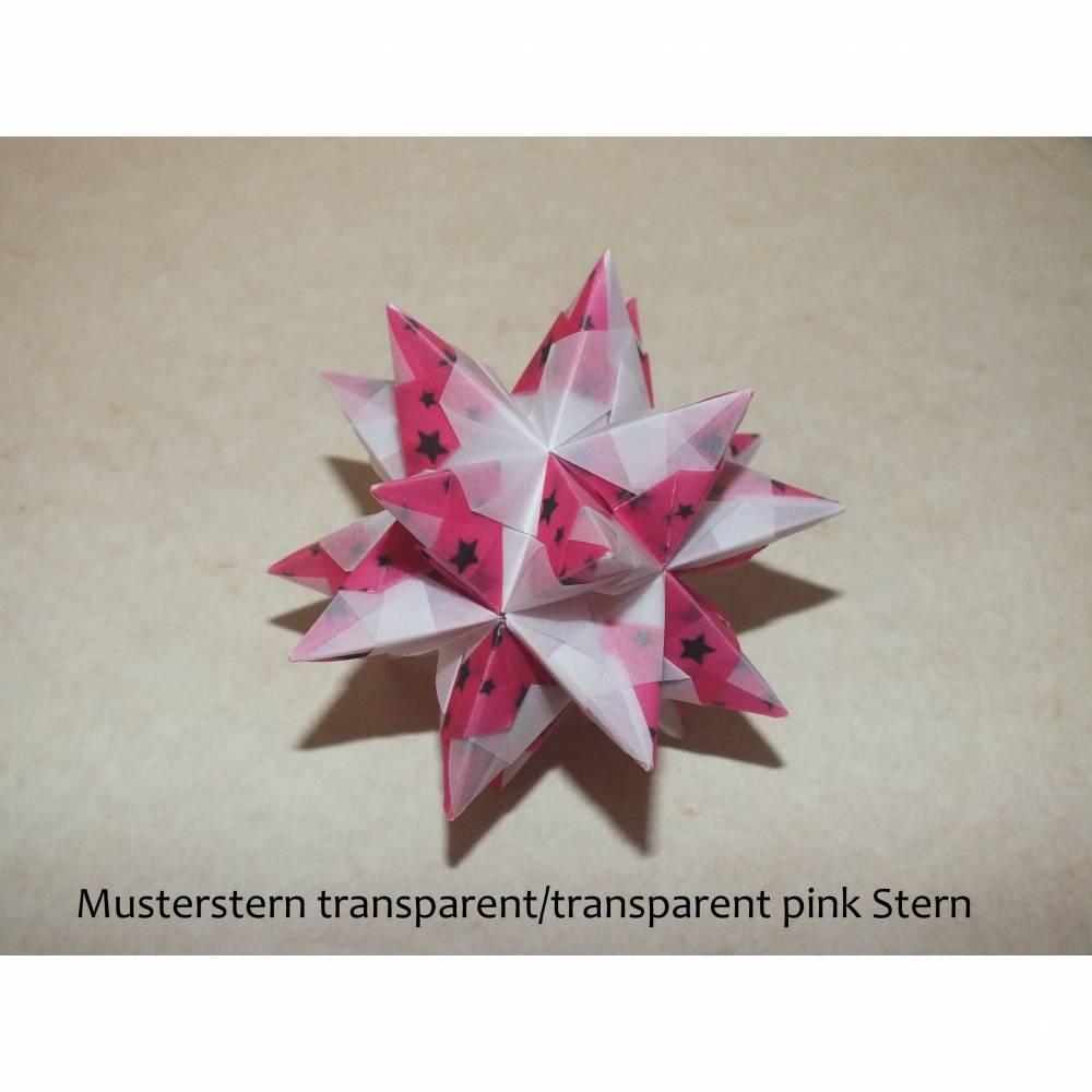 Origami Bastelset Bascetta 10 Sterne transparent/pink transparent mit Sternchen 5,0 cm x 5,0 cm Bild 1