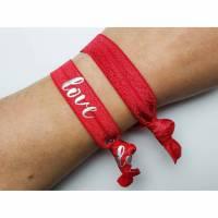 2er Set elastische Armbänder/Haargummis Aloha Rot Bild 1