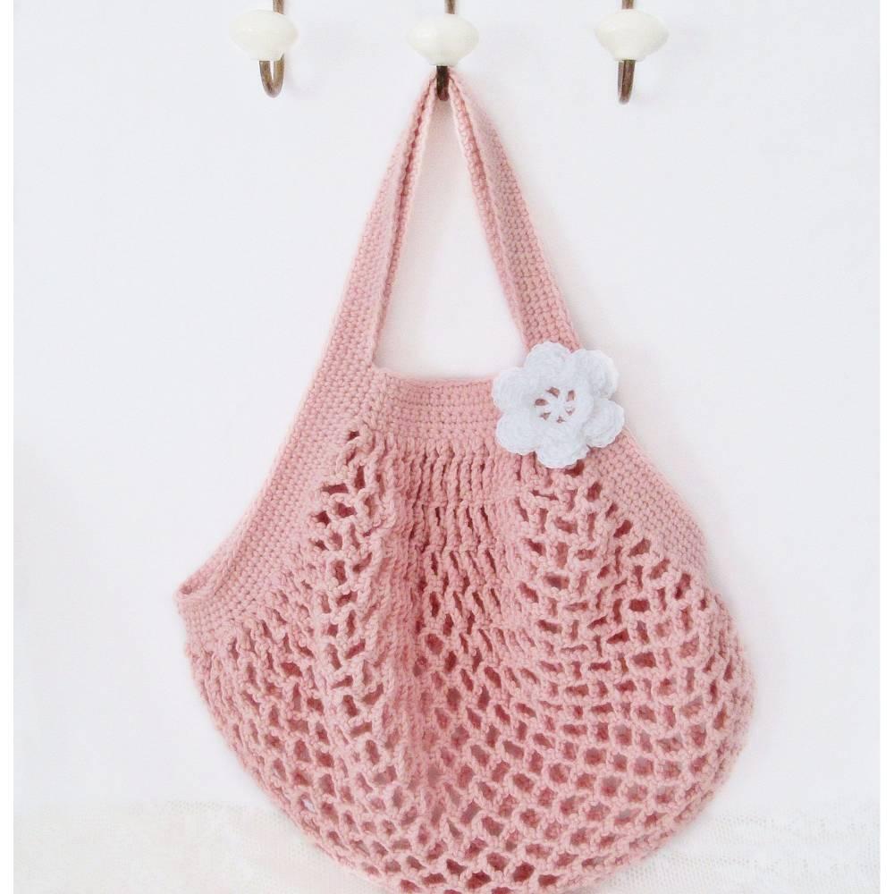 Häkeltasche, Häkelnetz, Einkaufsnetz, Netzbeutel in rosa-apricot, Vintage, Shabby, Unikat, Handarbeit Bild 1