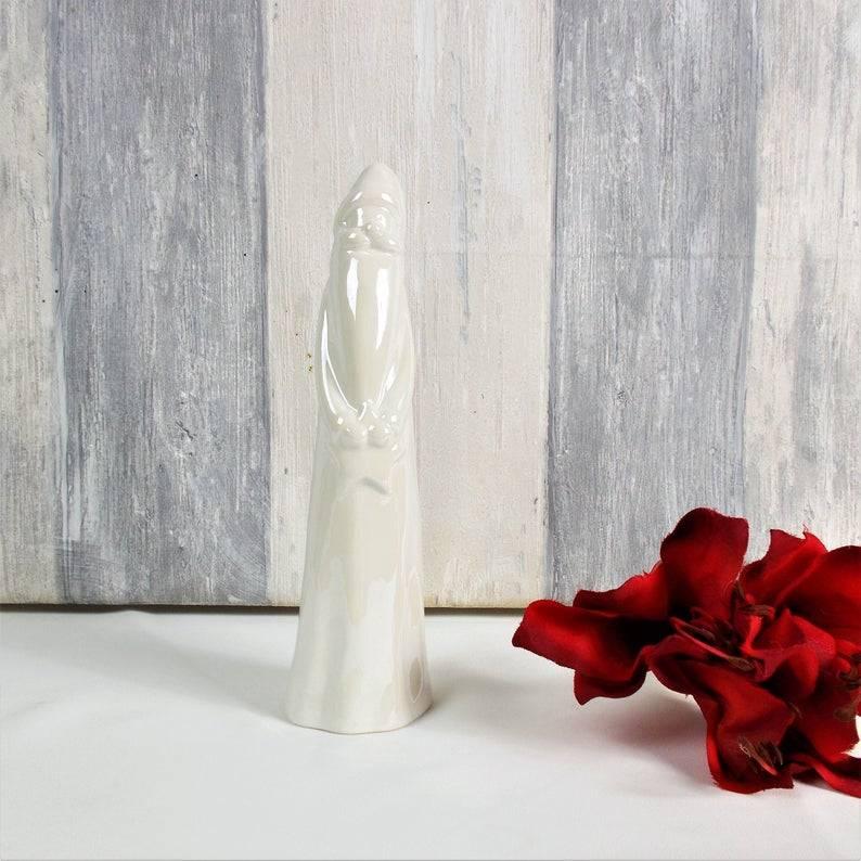 Weihnachtsdeko, groß, weißer Nikolaus Keramik, Floristikbedarf Bild 1