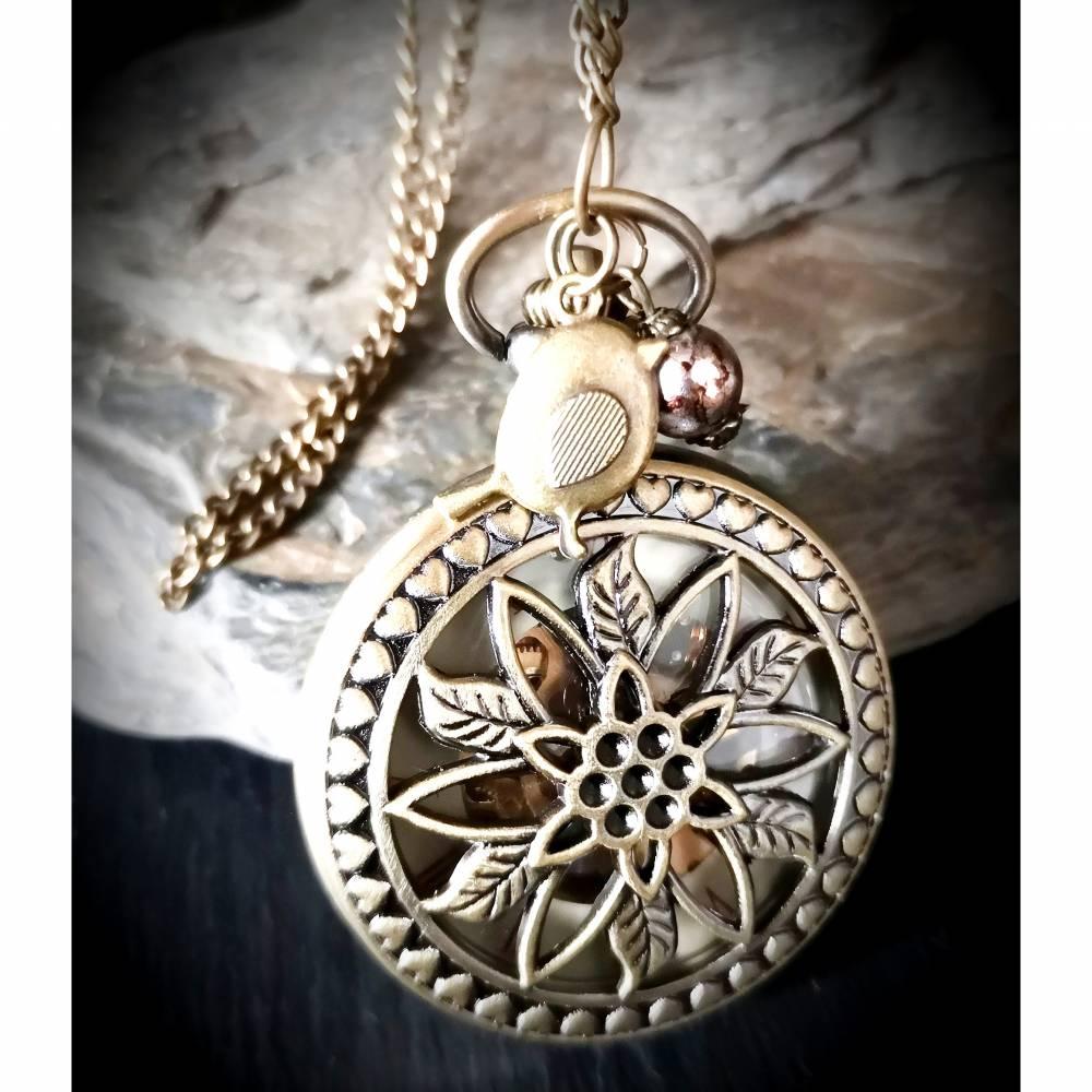 Kettenuhr mit sichtbarem Uhrwerk ,mechanisch, Uhr, Kette, Damenkette, Blüte Bild 1