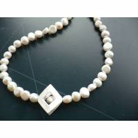 Handgefertigte ,ausgefallene Süßwasser Perlen Kette,Echte Perlenkette,Exclusive Perlenkette mit Echt Silber,Perlenkette modern,Süßwasser Perlenkette Bild 1