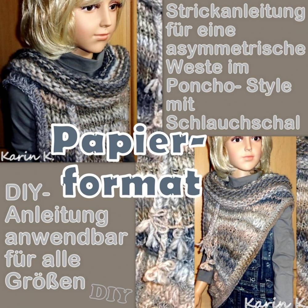 Strickanleitung für eine asymmetrische Weste im Boho- Style mit Schlauchschal Papier- Format DIN A4 Bild 1