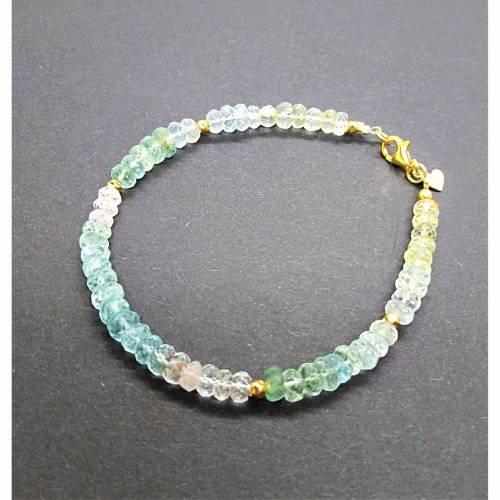 Armband Edelstein Beryll Multicolor, Aquamarin, Morganit, Goshenit, Button facettiert, 925 Silber Vergoldet