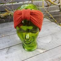 Stirnband mit Knoten - Patentmuster - Wolle(Merino) - rostrot Bild 1