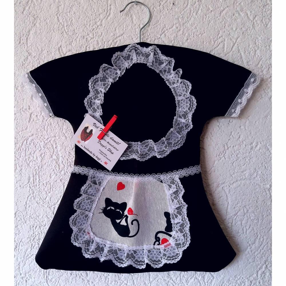 Klammerkleid, Wäscheklammerbeutel, Klammerkleidchen, Katzen- Schürzchen Bild 1