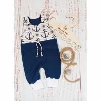 Strampler / Einteiler / Babykleidung / Gr. 56/62 / Jersey / Anker / Maritim