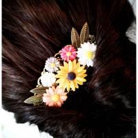 Haarkamm im Vintage-Stil, bronzefarben, flower-power, Hippi Bild 1