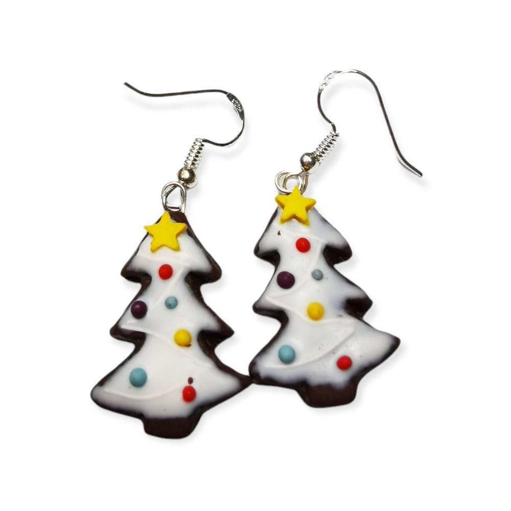 Weihnachtsbaum- Lebkuchen Ohrhänger aus Fimo, Weihnachten, Weihnachtszeit, Geschenk Bild 1
