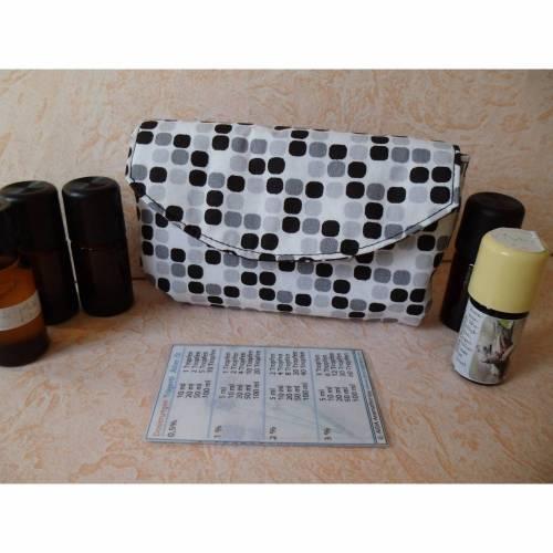 Tasche für 5 ätherische Ölflaschen, Aromapflege, für Aromaexpertinnen, schwarz-weiß