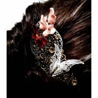 Haarkamm im Vintage-Stil mit Korallen-Callas, bicolor Bild 1