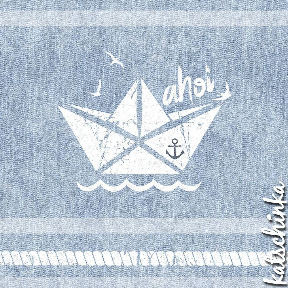 Bio Jersey #AhoiSailor Vintage jeansblau // Bootstoff, Ankerstoff, Maritim// Katschinka Bild 1