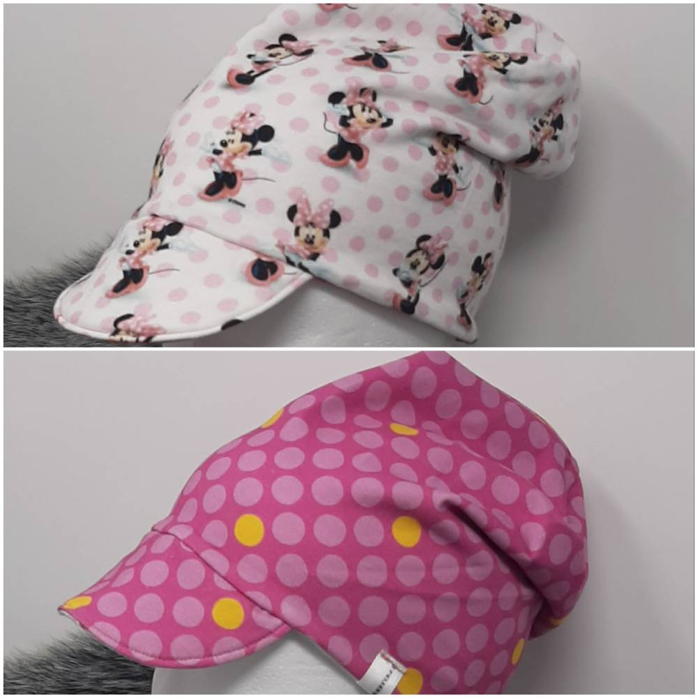 Wende Beanie Mütze mit Schirm KU 49-51 Maus pink Bild 1