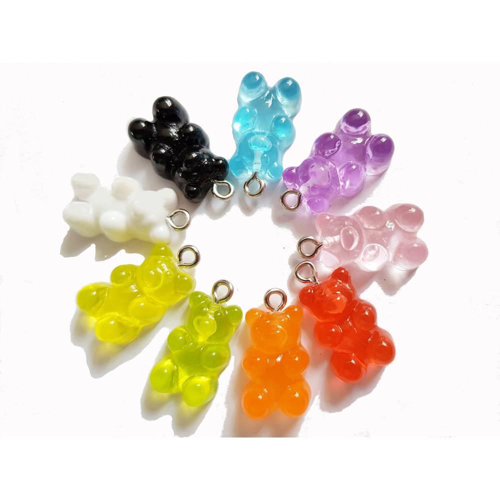 Bären, Bärchen, Gummibärchen Anhänger, Charms, 10 Stück Farbmix Bild 1