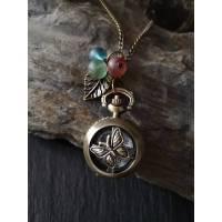 Kettenuhr, Kette, Uhr, Quarzuhr, Schmetterling, Vintage, Stil, Antik, Damenkette Bild 1