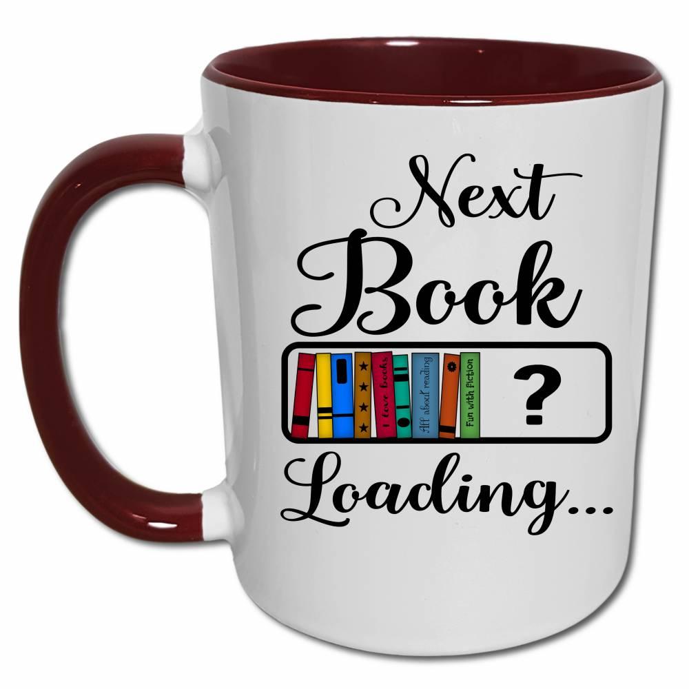 Leseratten Geschenk Tasse mit Spruch, Bücher Nerd Geschenk, Lustige Sprüche Kaffeebecher, Next Book Loading Ladebalken Bild 1