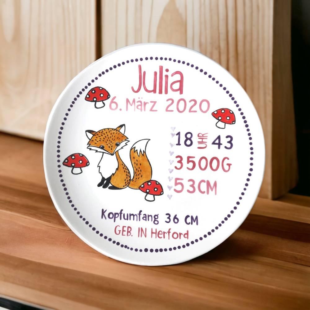 Geburtsteller, Teller zur Taufe, Motiv Fuchs, Keramik handbemalt und personalisiert, Bild 1