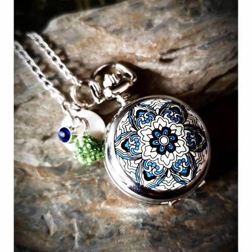 Kettenuhr,Uhr, Kette, Damenkette, silber, Mandala, Quarzuhr, 781