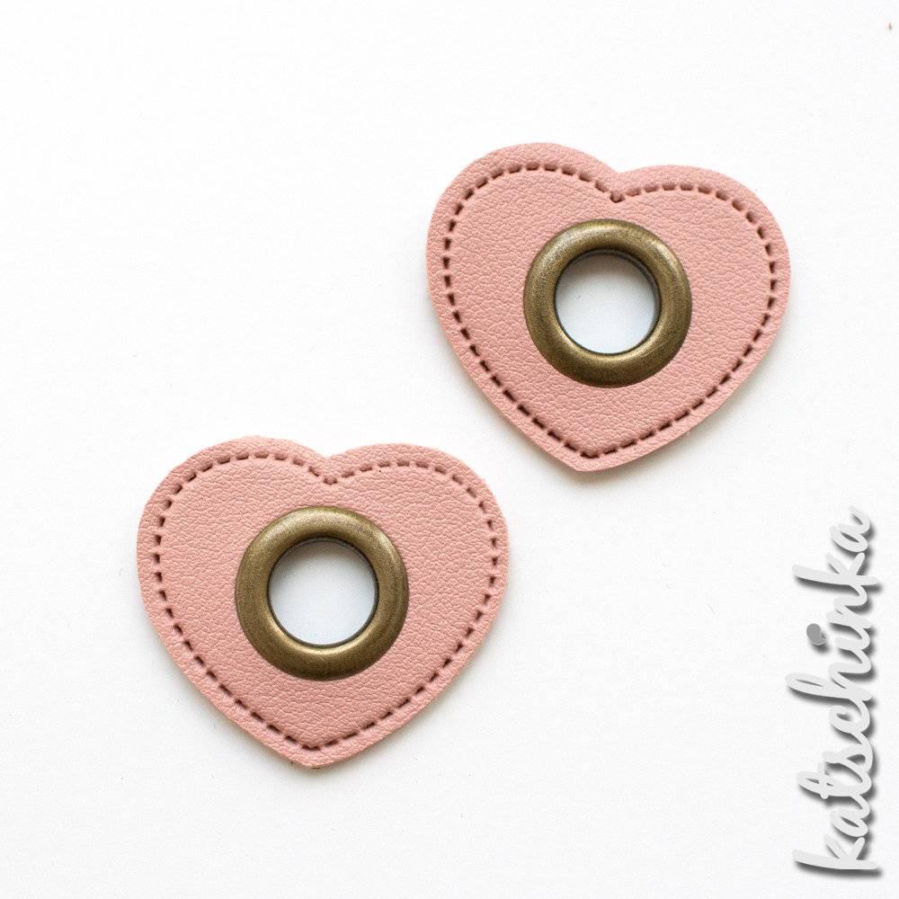 Ösenpatches, Ösen auf rosa Kunstleder, Ösen Patches,   Herz bronze 11 mm   2er Bild 1
