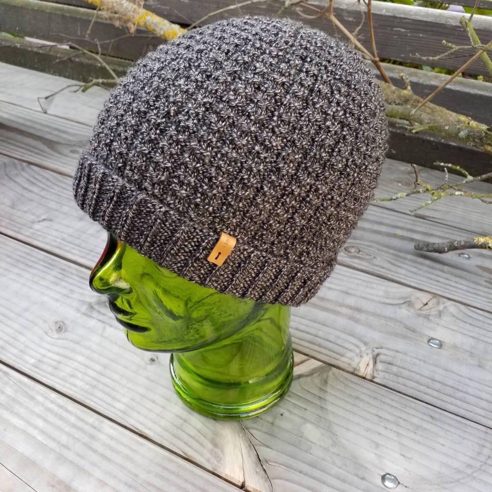 Mütze - Wollmütze - Strickmütze - Herrenmütze - unisex - 100% Wolle - handgestrickt  Bild 1